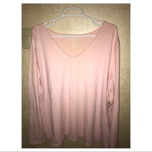 Pale pink long sleeve top